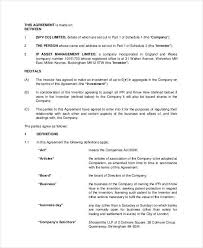 sample business investment agreement 9 free documents download