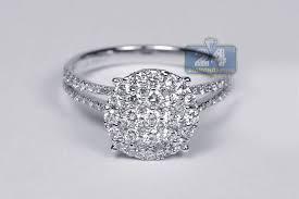 women s engagement rings womens diamond cluster engagement ring 18k white gold 1 00 ct