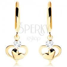cercei din aur cercei cu diamant din aur 585 cerc cu diamant și inimi