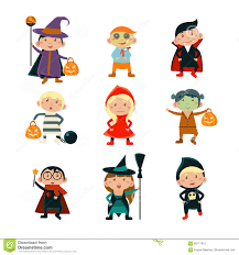 kids halloween cartoon kids in halloween costumes vector illustration stock vector