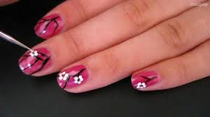 easy cherry blossom nail art for short nails youtube