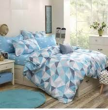 blue with triangle print teenager u0027s men u0027s bedding set duvet cover