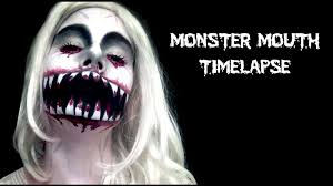 monster mouth time lapse halloween makeup youtube