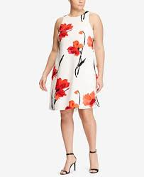 lauren ralph lauren plus size paland crepe a line dress dresses