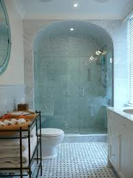 Arched Shower Door Sliding Shower Doors Transitional Bathroom Blue Water Home