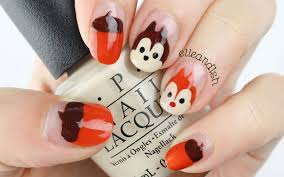 easy disney chip n dale nails for fall youtube