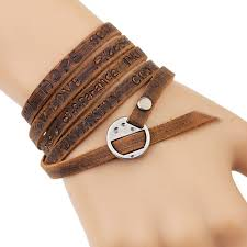 bracelet leather wrap images Buy 2016 new fashion brown genuine leather wrap jpg