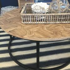 Coffee Table Styles by Henrietta U0027 Reclaimed Wood Parquet Round Coffee Table Style My Home