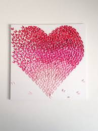 butterfly heart red pink ombre canvas handmade art wall