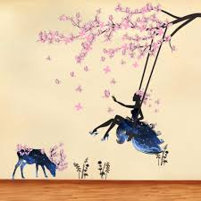 compare prices on fairy wall murals online shopping buy low price pink plum blossom flowers tree branches wall sticker blue fairy swing deer wall mural poster girls