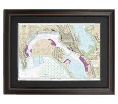 San Diego Bay Map by Framed Nautical Maps U2014 Framed Nautical Map 18773 San Diego Bay