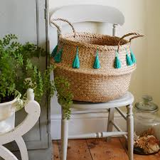 seagrass storage baskets green tassels pompom u0026 twiddle