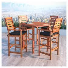 Patio High Table And Chairs Miramar 5pc Square Wood Patio Bar Height Dining Set Cinnamon
