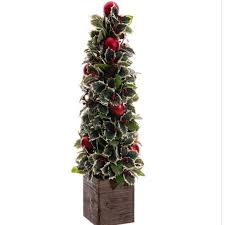 34 potted pine cone and berry artificial tree