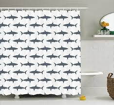 fish shower curtain set sea animals decor by ambesonne sharks