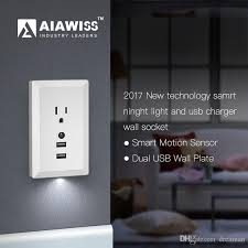 wall plate with built in night light led night light with automatic dusk to dawn sensor and 5v 2 4a dual