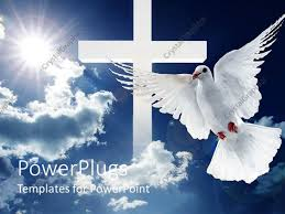 powerpoint template a dove in front of a cross and clouds in the