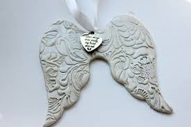 wing ornament clay memorial ornament sympathy gift faith