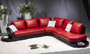 Modern Black Leather Sofas Red U0026 Black Leather Modern Two Tone Sectional Sofa