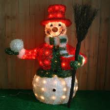large pre lit snowman with jacket u0026 broom christmas decoration
