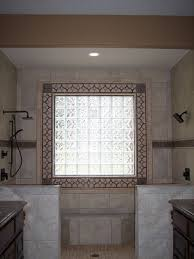 Tiling Around Bathtub Decorative Tile Around Glass Block Window Traditional Bathroom