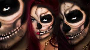 half skull last minute easy halloween make up schnell u0026 einfach