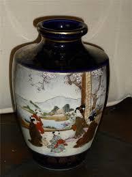 Antique Cobalt Blue Vases Antique Japanese Satsuma Pottery Vase Scenic Panels Cobalt