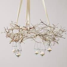 Ceiling Light Decorations Hang Branches From The Ceiling With Fishing Wire And Decorate With