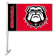 amazon com ncaa georgia bulldogs car flag bulldog logo with free