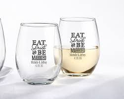 stemless wine glasses wedding favors personalized eat drink be married 9 oz stemless wine glass