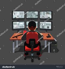 black uniform watchman guard man sitting stock vector 585982289