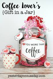 valentines day present coffee lover s gift in a jar with s day printables