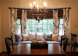 bay window curtains dining room traditional with blue kitchen bay