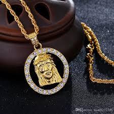 jesus hip hop necklace images Wholesale hip hop necklace men rapper 18k gold plated necklace jpg