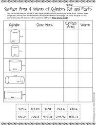surface area and volume of cylinders cut and paste worksheet tpt