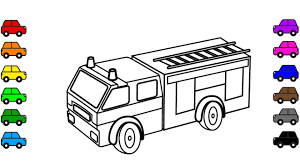 learn color kids car truck coloring pages fire truck