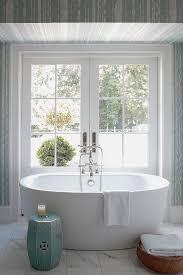 Oval Bathtub Blue And White Master Bath Transitional Bathroom