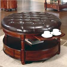 Black Ottoman Storage Bench Ottoman Black Leather Ottoman Classic And Vintage Round Tufted