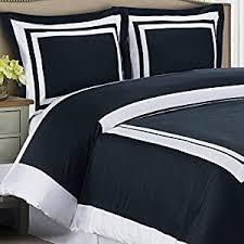 amazon com modern duvet cover king size navy blue white border