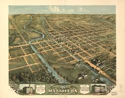 Map Of Ohio And Kentucky by Bird U0027s Eye View Of Massillon Stark County Ohio 1870 World