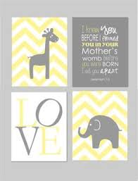 Yellow Gray Nursery Decor Room Wall Elephant Nursery Decor Yellow Grey Baby