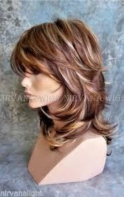 wigs medium length feathered hairstyles 2015 nirvana wig 3 tone deep auburn copper blonde multi layers med