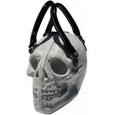 3d skull gothic purse in glow in the dark white dimensional