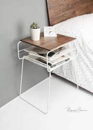 iron and wood bedside table nightstand