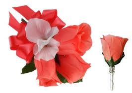 Coral Boutonniere Colorful Artificial Flower Wedding Bouquet Corsage By Color