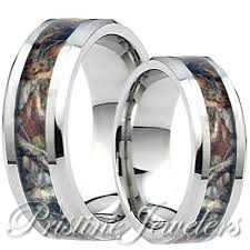 camo wedding bands his and hers his titanium real oak forest camo ring mossy tree