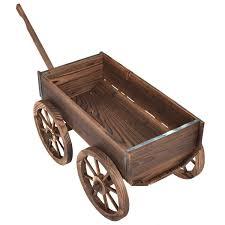 wood wagon planter pot stand with wheels pots u0026 planters