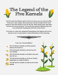 kid s lesson the legend of the five kernels thanksgiving