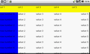xamarin android table layout android layout how to implement a fixed freezed header and column
