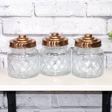 kitchen canisters ebay 3 x glass storage jars copper lids tea coffee sugar canisters kitchen containers